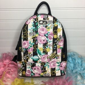 BETSEY JOHNSON Floral Bee Stripe Mini Bag BackPack